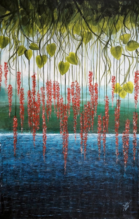 Surrealist Acrylic Art Painting title Riverside by artist Seby Augustine