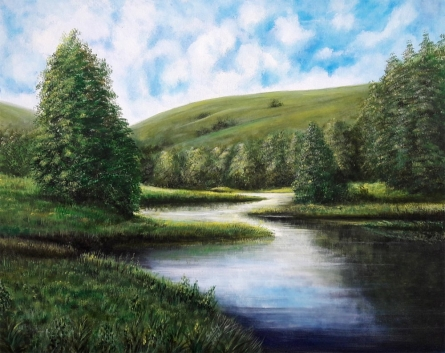 Nature Acrylic Art Painting title 'The Green' by artist Seby Augustine