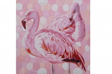 Animals Oil Art Painting title Flamingos by artist Gunjan Adya