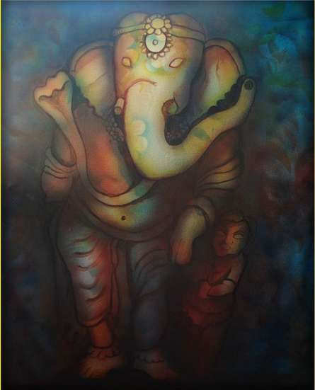 Sripad Kulkarni | Ganesha Series Mixed media by artist Sripad Kulkarni on Canvas | ArtZolo.com