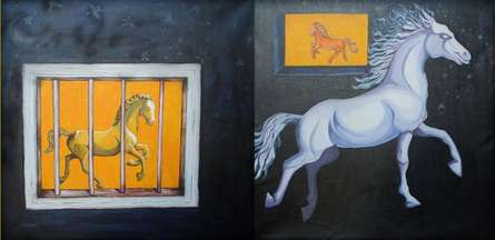 Horse Series | Mixed_media by artist Sripad Kulkarni | Canvas