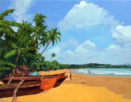 Tushar Patange | Oil Painting title Goa Beach on Canvas | Artist Tushar Patange Gallery | ArtZolo.com