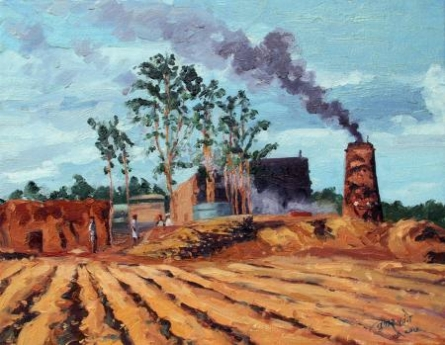 Landscape Oil Art Painting title 'Jaggery Factory' by artist Tushar Patange