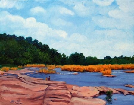 Riverside | Painting by artist Tushar Patange | oil | Canvas