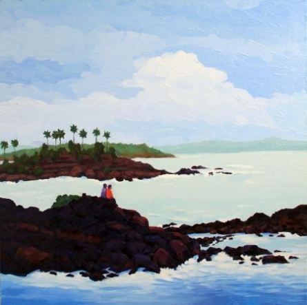 Landscape Oil Art Painting title 'Seashore' by artist Tushar Patange