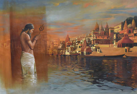 Cityscape Oil Art Painting title 'Banaras Ghat' by artist Kamal Rao