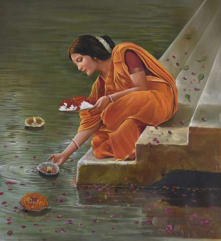 Realistic Oil Art Painting title 'Reverence' by artist Kamal Rao