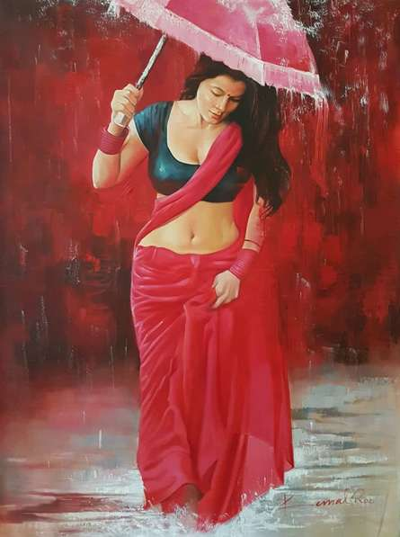 Figurative Oil Art Painting title 'Baarish' by artist Kamal Rao
