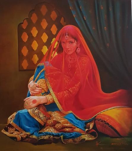 Kamal Rao | Oil Painting title Adaa on Canvas | Artist Kamal Rao Gallery | ArtZolo.com