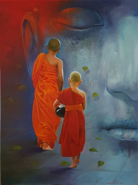 Religious Oil Art Painting title Monks and the Master by artist Kamal Rao