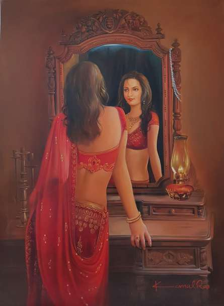Reflection | Painting by artist Kamal Rao | oil | Canvas