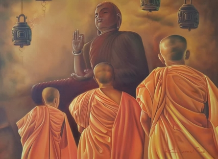 Religious Oil Art Painting title 'Monks and the Master' by artist Kamal Rao