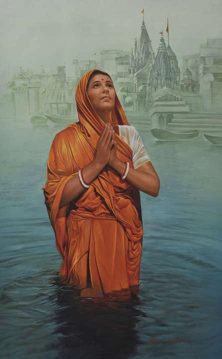 Religious Oil Art Painting title 'Prayer' by artist Kamal Rao