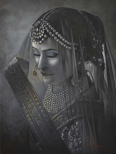 Figurative Oil Art Painting title 'Adaa' by artist Kamal Rao