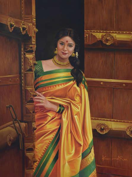 Figurative Oil Art Painting title 'Open Doors' by artist Kamal Rao