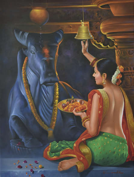 Religious Oil Art Painting title Devotee by artist Kamal Rao