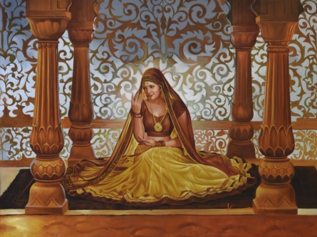 Figurative Oil Art Painting title 'Sajawat' by artist Kamal Rao