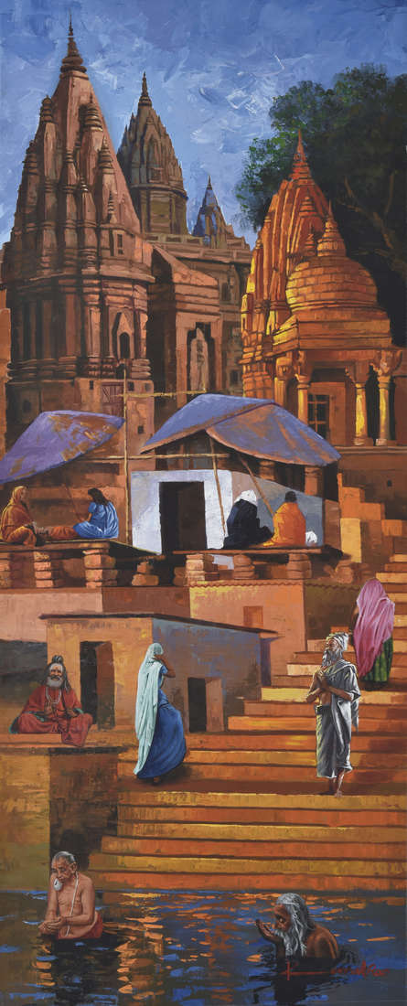 Landscape Acrylic Art Painting title Banaras Ghat by artist Kamal Rao