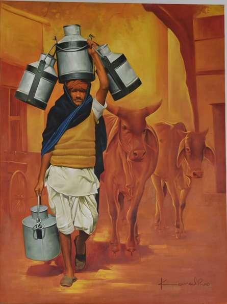 Figurative Oil Art Painting title 'Milkman' by artist Kamal Rao