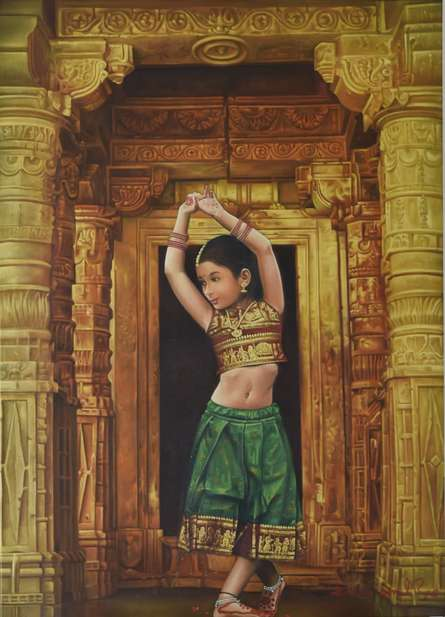 Realistic Oil Art Painting title Devotion by artist Kamal Rao