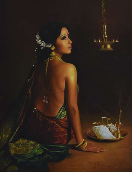 Figurative Oil Art Painting title 'Mehek' by artist Kamal Rao