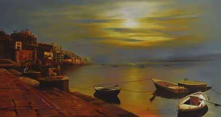 Commascape Oil Art Painting title 'Banaras Ghat' by artist Kamal Rao