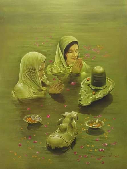 Realistic Oil Art Painting title 'Shivling and Nandi' by artist Kamal Rao