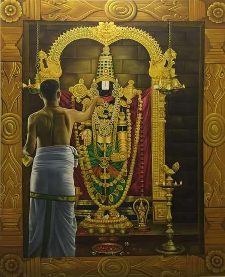 Religious Oil Art Painting title Tirupati Balaji by artist Kamal Rao