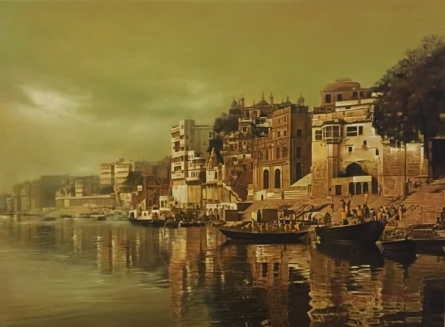 Cityscape Oil Art Painting title Banaras Ghat 2 by artist Kamal Rao