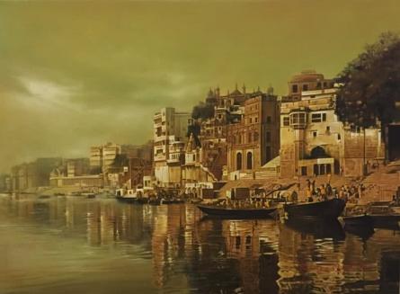 Banaras Ghat 2 | Painting by artist Kamal Rao | oil | Canvas