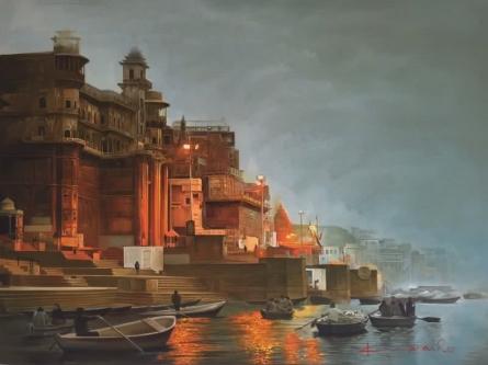 Banaras Ghat | Painting by artist Kamal Rao | oil | Canvas