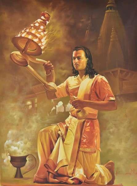 Agni Arti | Painting by artist Kamal Rao | oil | Canvas