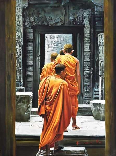 Kamal Rao | Oil Painting title Monks on Canvas | Artist Kamal Rao Gallery | ArtZolo.com
