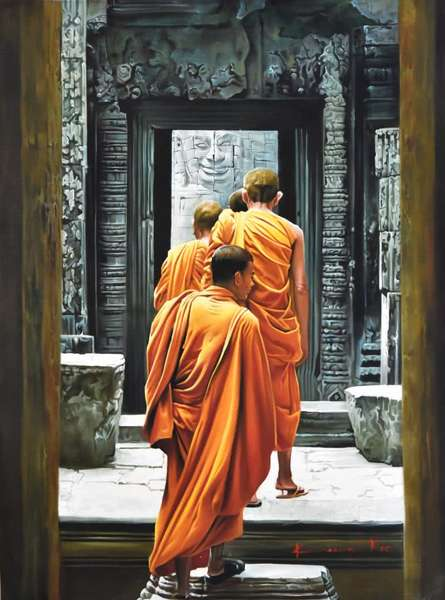 Figurative Oil Art Painting title Monks by artist Kamal Rao