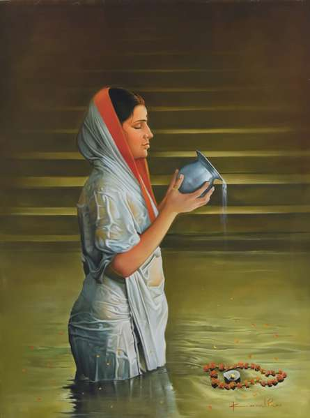 Realistic Oil Art Painting title Prayer by artist Kamal Rao