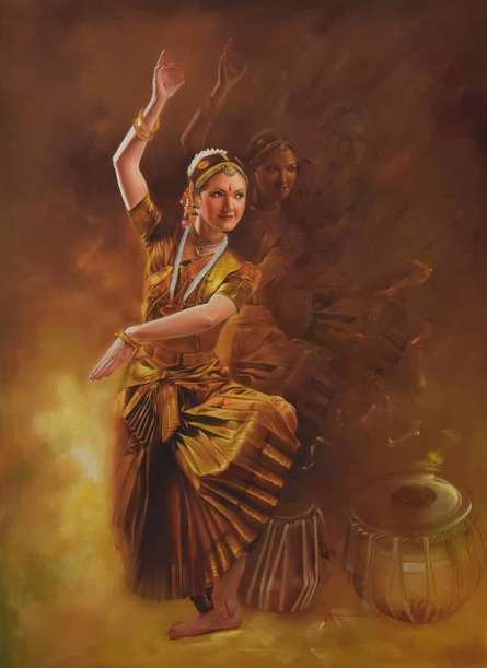 Realistic Oil Art Painting title Grace by artist Kamal Rao