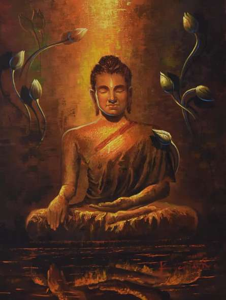 Buddha Reflection | Painting by artist Kamal Rao | oil | Canvas
