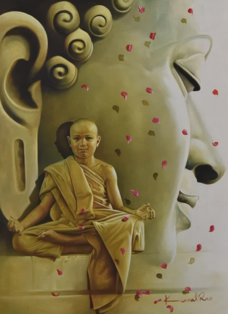 Kamal Rao Paintings | Realistic Painting - The Monk and the Master by artist Kamal Rao | ArtZolo.com