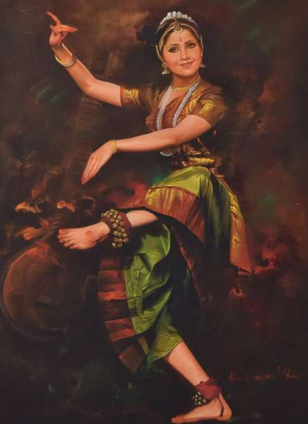 Figurative Oil Art Painting title 'Dancing Lady' by artist Kamal Rao