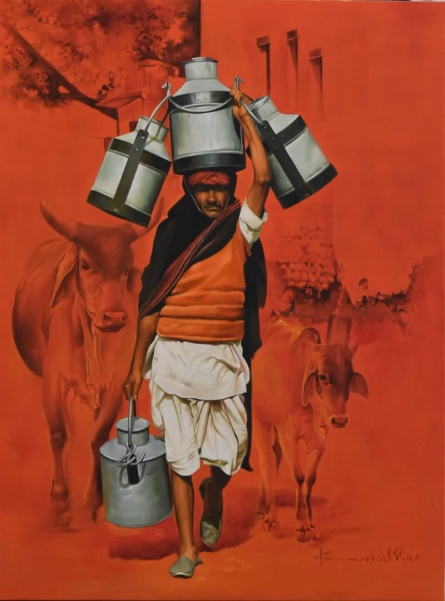 Milkman | Painting by artist Kamal Rao | oil | Canvas
