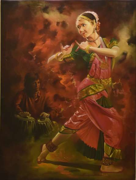 Photorealistic Oil Art Painting title Dancing Lady by artist Kamal Rao