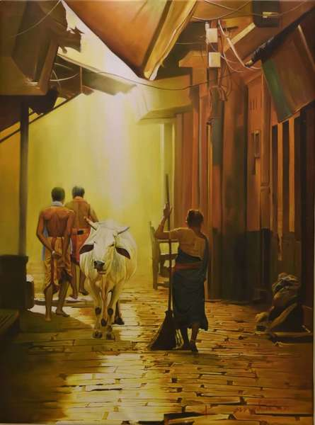 Cityscape Oil Art Painting title Street of Banaras by artist Kamal Rao