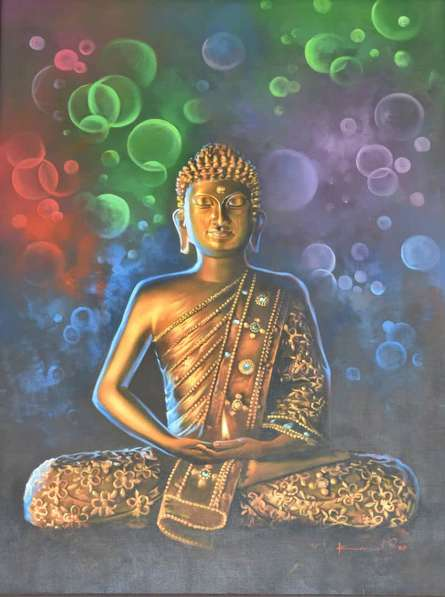 Religious Oil Art Painting title Buddha Bronze by artist Kamal Rao