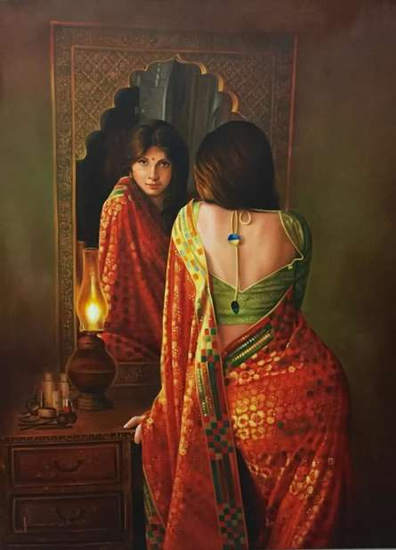 Realistic Oil Art Painting title 'Lady in the Mirror' by artist Kamal Rao