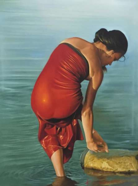 Realistic Oil Art Painting title Lady by artist Kamal Rao