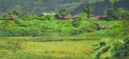 Landscape Oil Art Painting title 'Green Village 3' by artist Sachin Sawant