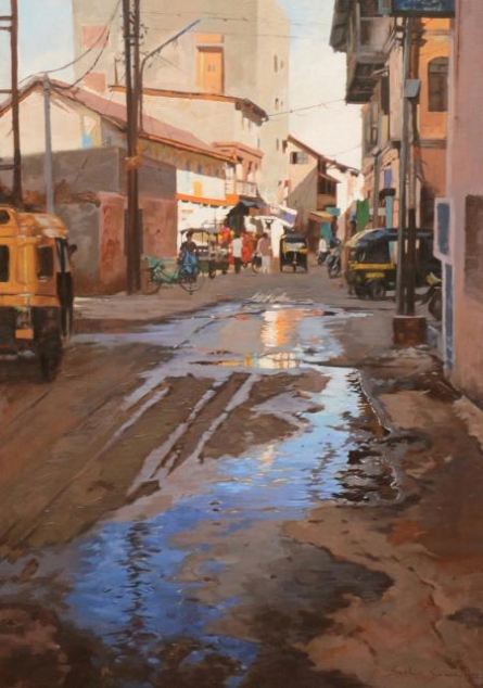 Cityscape Oil Art Painting title 'Road Replaction' by artist Sachin Sawant