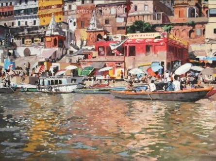 Ganga Bhraman | Painting by artist Sachin Sawant | oil | Canvas