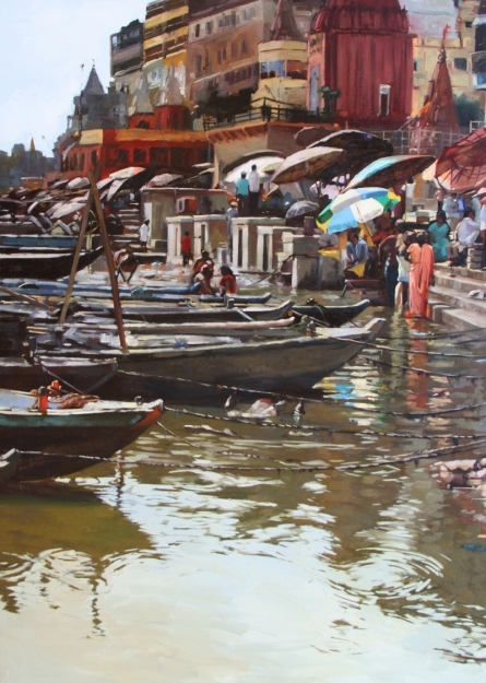 Banaras Ghat 1 | Painting by artist Sachin Sawant | oil | Canvas