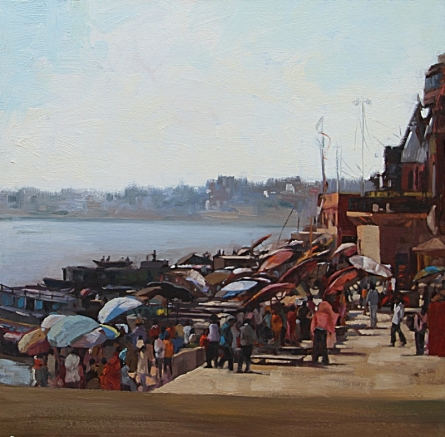 Landscape Oil Art Painting title 'Crowded Banaras Ghat' by artist Sachin Sawant
